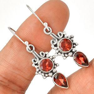 Jewelry - Gemstone Earrings Garnets in 925 Sterling Silver